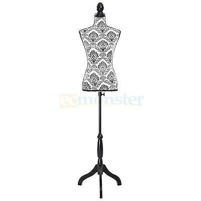 Beige Female Mannequin Torso Dress Form Clothing Display W/White Tripod Stand