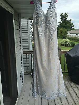 Anya Mermaid Lace Beaded  V-neck Mother of Bride Evening Dress Silver/Nude NEW