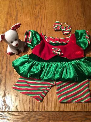 Build A Bear Factory Christmas Cute Girls Elf Outfit Including Mini Pup