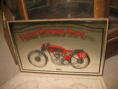 Vintage 1933 Excelsior Mechanical Marvel 250cc 1970's Bar Pub Motorcycle Mirror