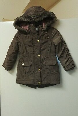 f&f girls hooded brown coat size 2-3 year's