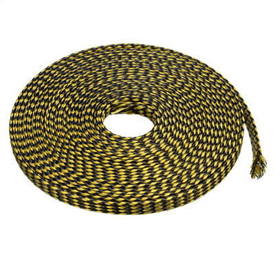 8mm PET Cable Wire Wrap Expandable Braided Sleeving Black Yellow 5M Length
