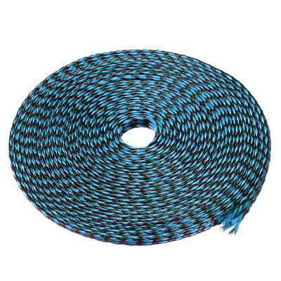 4mm PET Cable Wire Wrap Expandable Braided Sleeving Black Blue 10M Length