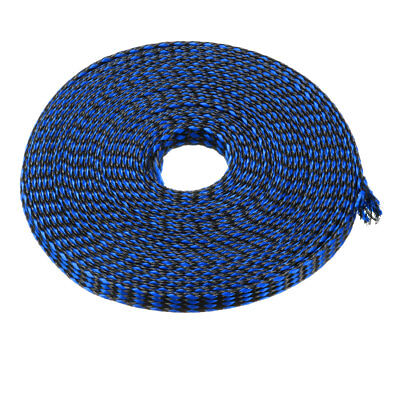 8mm Dia Tight Braided PET Expandable Sleeving Cable Wrap Sheath Black Blue 5M