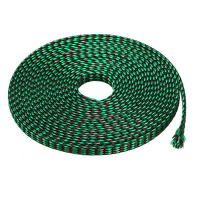 8mm PET Cable Wire Wrap Expandable Braided Sleeving Black Green 5M Length