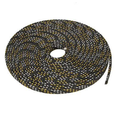 6mm PET Cable Wire Wrap Expandable Braided Sleeving Black Golden 5M Length