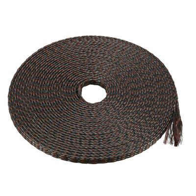 4mm PET Cable Wire Wrap Expandable Braided Sleeving Black Brown 5M Length
