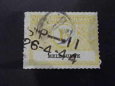 Victorian Railways Parcel Stamp 1/- Yellow - Melbourne - Used
