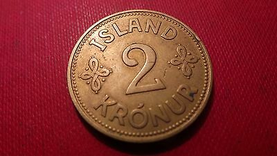Iceland, 2 Kronur Coin, 1940. Last year this design was ever produced.