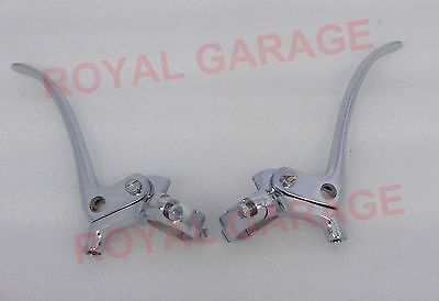 "Universal Vintage Bikes Brass Chromed Brake & Clutch Levers 1"" Inch Handle Bar"