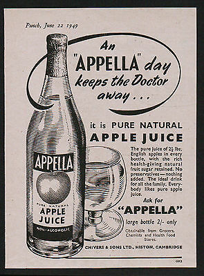 1940s advert for APPELLA a day keeps doctor away apple juice Chivers & Son 1949