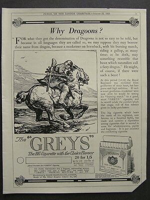 1920s advert for THE GREYS cigarettes smoking advertising Dragoons Regiment 1923