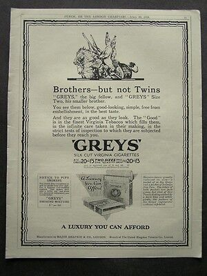 1920s advert for GREYS cigarettes brothers not twins smoking advertising 1924