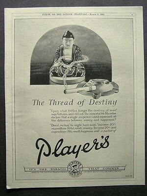 1930s advert for PLAYER'S Navy Cut cigarettes Thread of Destiny Voltaire smoking