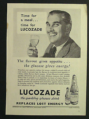 1950s advert for LUCOZADE sparkling glucose energy drink advertising 1954