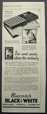 1930s advert for MARCOVITCH cigarettes Black & White smoking advertising 1932