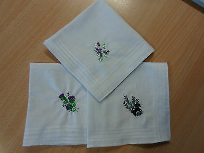 6 Ladies Scottish Themed Embroidered Handkerchiefs - Xmas Gift
