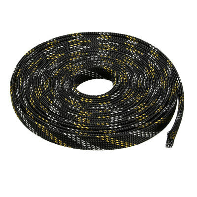 12mm PET Cable Wire Wrap Expandable Braided Sleeving Black Golden 10M Length