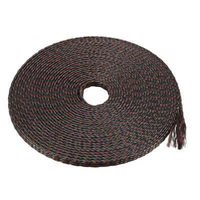 4mm PET Cable Wire Wrap Expandable Braided Sleeving Black Brown 10M Length