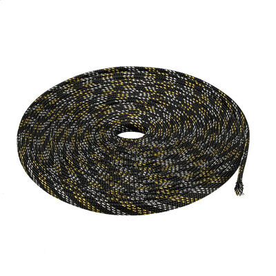 8mm PET Cable Wire Wrap Expandable Braided Sleeving Black Golden 10M Length