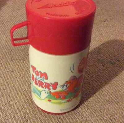 Tom And Jerry 1970's Aladdin Lunchbox Plastic Thermos Flask