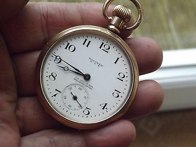 Good Antique Gold Plated A.w.w.c Co Waltham Dennison Star Pocket Watch - Working