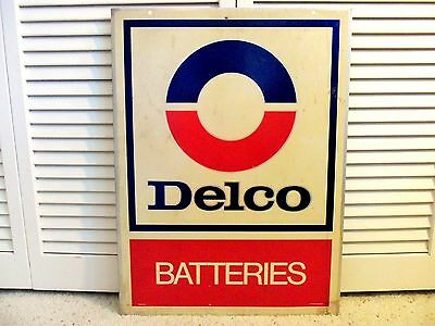 Old Vintage 1960s Sign AC Delco Battery GM Chevrolet Gas Station Dealer 2 Sided