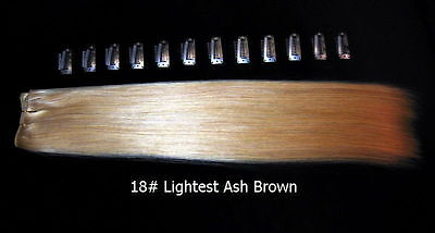 "DIY 15"" 2FT Clip in Remy Human Hair Extensions 18/613# Mixed Light Blonde"