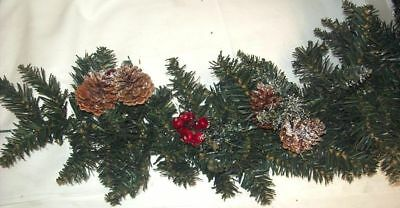Artificial Green Christmas Garland Decoration With Berries & Pine Cones 180cm