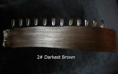 "DIY 15"" 2FT Clip in Remy Human Hair Extensions 2# Darkest Brown"