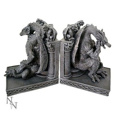 Nemesis Now Knowledge Keepers 28cm Dragon Book Ends  gothic fantasy