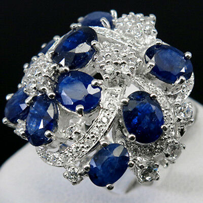Natural Top Royal Blue & White Sapphire Real 925 Sterling Silver Ring