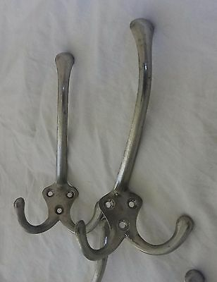 4 Vintage French Triple Coat Hooks Polished Silver Aluminium  - 4 More Available