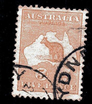 Australia,, 1913,, KANGAROO,,SG 8,, the 5d.,, fine used