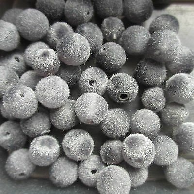 70 Velvet Silver Grey Beads Felt Ball Round 12mm Craft Jewellery Making