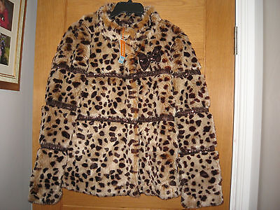 Nwt Bluezoo Girls Faux Fur Leopard Jacket,age 14,rp £40