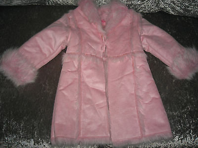 New  Reach Girls Faux Fur Pink Coat,age 2-3
