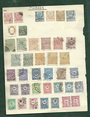Turkey Ottoman Empire and Czechoslovakia old used stamps on pages