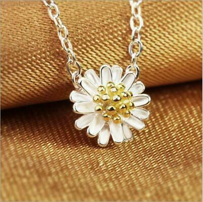 """925 Sterling Silver&Gold Plt 2 Tone Daisy Flower Pendant Necklace 17.7"""" Gift UK"""
