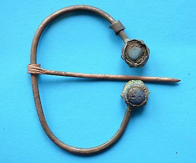 Ancient Viking Period Brooch Fibula with gemstones