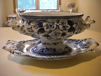 Antique Pearlware Gravy Boat With Underplate Blue White