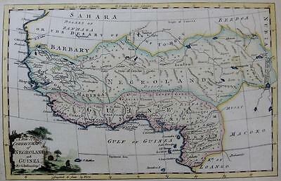 WEST AFRICA GUINEA BENIN  GENUINE ENGRAVED ANTIQUE MAP BY GEORGE ROLLOS  c1760