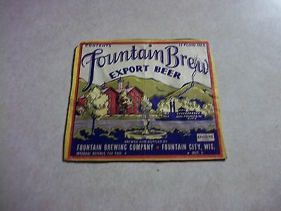 Genuine Old IRTP FOUNTAIN BREW BEER BOTTLE LABEL Fountain City Wisconsin Wi.