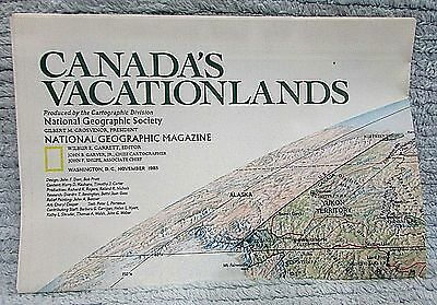 Old 1985 National Geographic Vintage Map Canada's Vacationlands FREE S/H