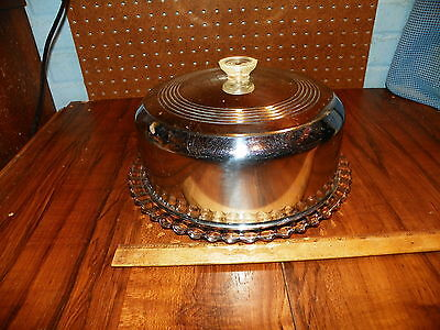 "Vintage Chrome Cake Cover w Glass Footed Plate (11"" Dia.)"