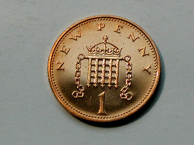 UK (Great Britain) 1977 ONE PENNY PROOF (1p) Elizabeth II Coin UNC