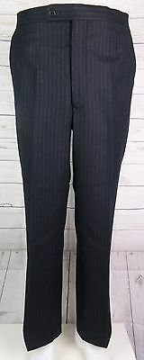 Vtg Flat Front Tapered Leg Charcoal PInstripe Wool  Trousers  W34 L31 DL66