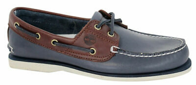 Details about Timberland Mens Classic Boat Shoes, Navy Blue or Brown, Leather, Lace Up, Casual