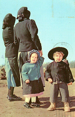 Amish Toddlers Postcard Mailed 1965