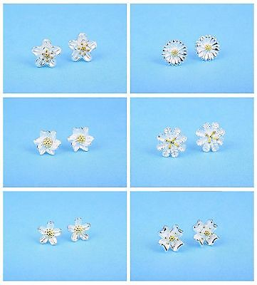925 Sterling Silver&Gold Plated Cute Two Tone Flower Stud Earrings 6 Design Gift